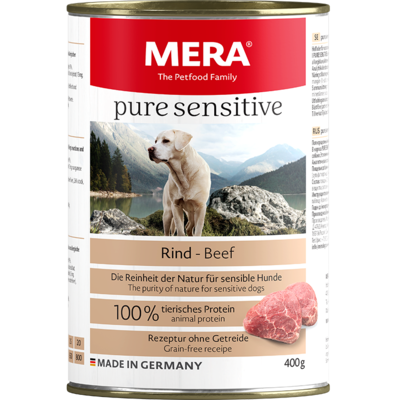 12:MERA pure sensitive Rind Nassfutter 100% tierisches Protein für sensible Hunde