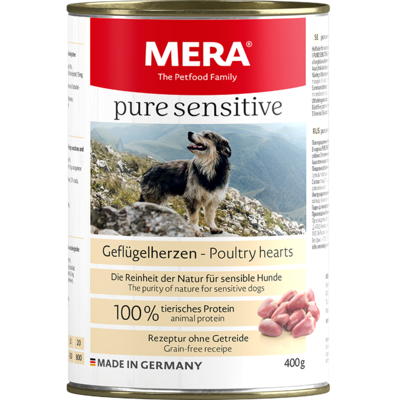 20:MERA pure sensitive poultry hearts wet food 100% animal protein for sensitive dogs