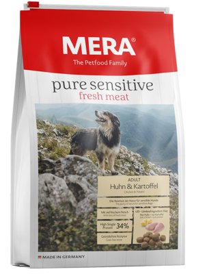 20:MERA pure sensitive fresh meat chicken & potatoes with high protein for the active, sensitive dog