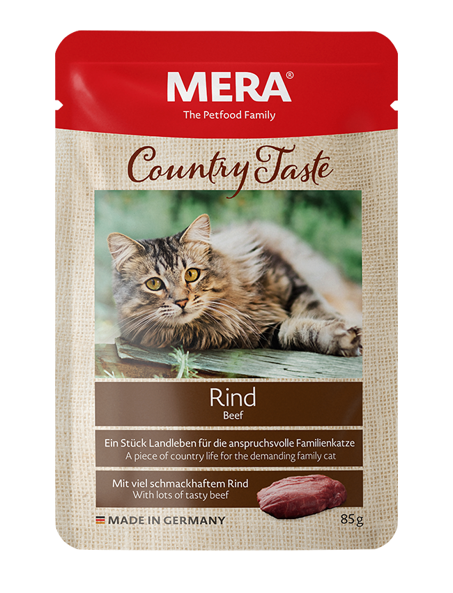 Cat food MERA Country Taste Beef wet food for the family cat
