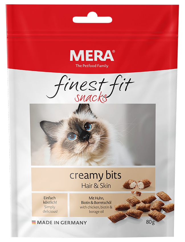 Cat food MERA finest fit creamy bits Hair&Skin  Snack für Katzen with skin or coat problems