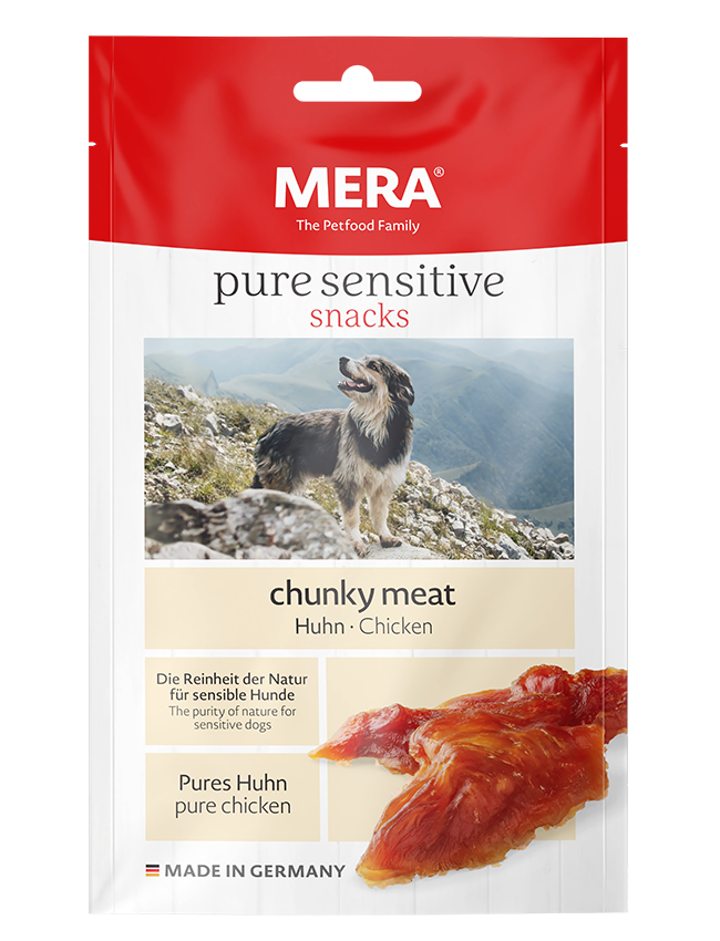 Hundefutter MERA pure sensitive snacks chunky meat Huhn