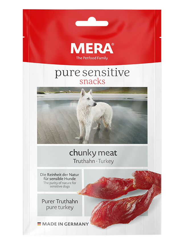 Hundefutter MERA pure sensitive Snacks chunky meat Truthahn