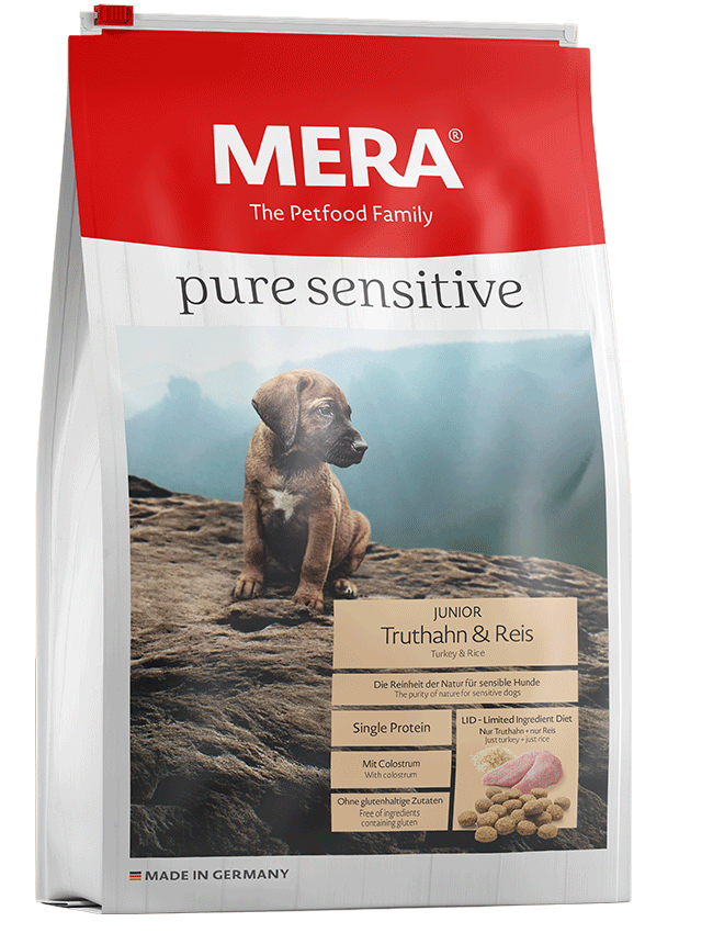 Dog food MERA pure sensitive Junior turkey & rice for the young, sensitive dog
