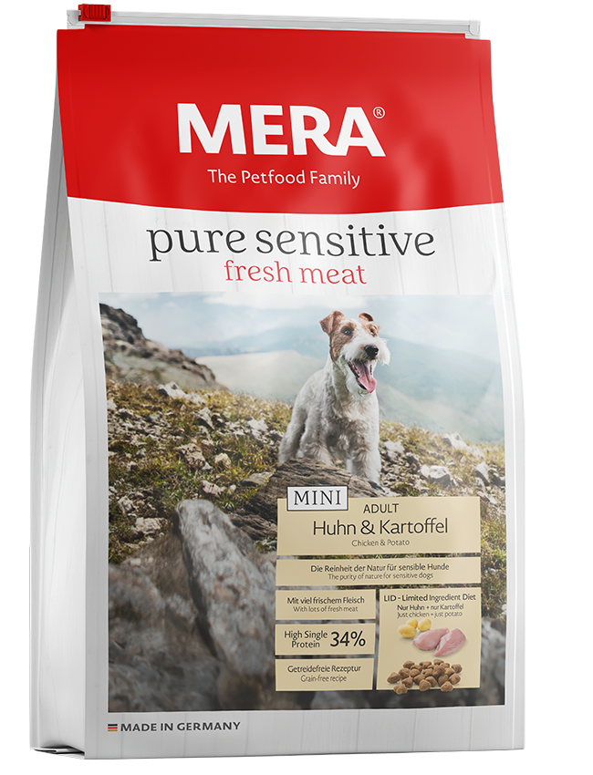 Dog food MERA pure sensitive Mini fresh meat chicken & potatoes with high protein content for the active, sensitive and small dog