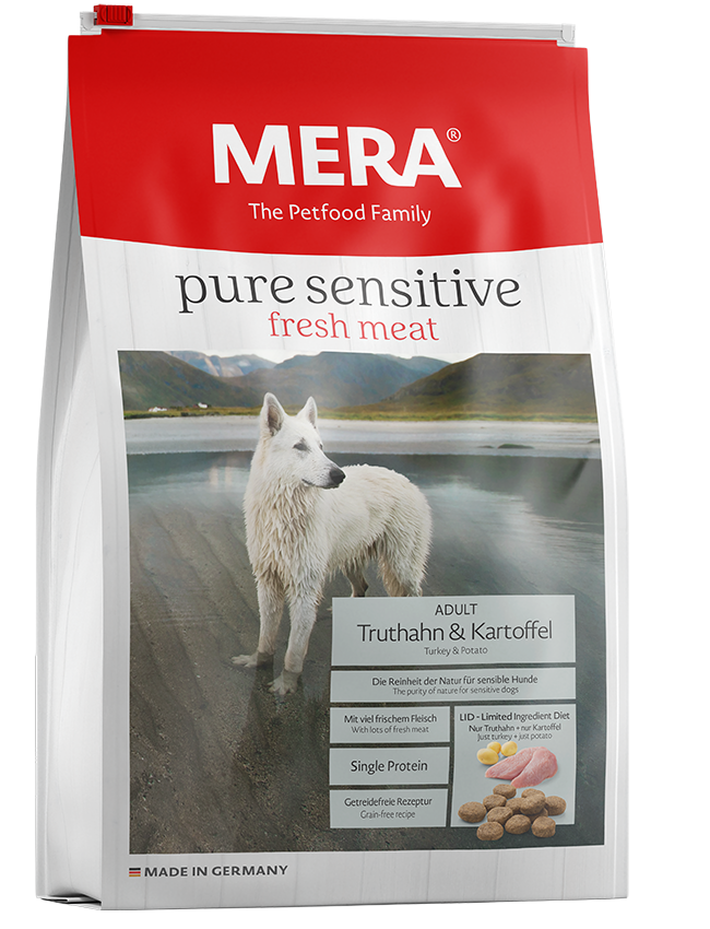 Dog food MERA pure sensitive fresh meat turkey and potatoes