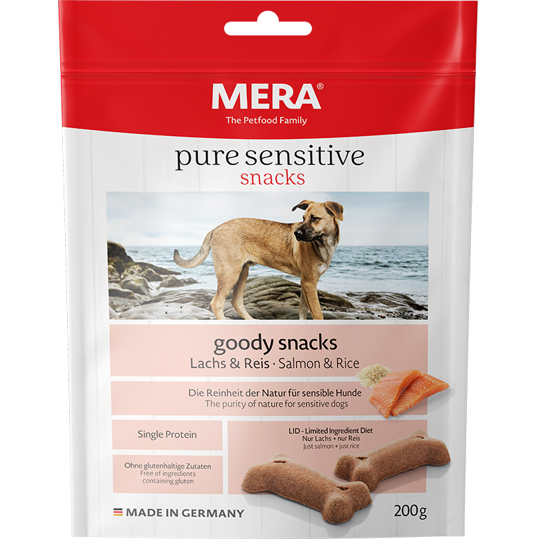 Hundefutter MERA pure sensitive goody snacks Leckerlis mit Lachs & Reis