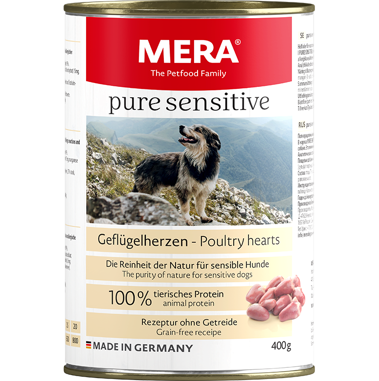 Dog food MERA pure sensitive poultry hearts wet food 100% animal protein for sensitive dogs