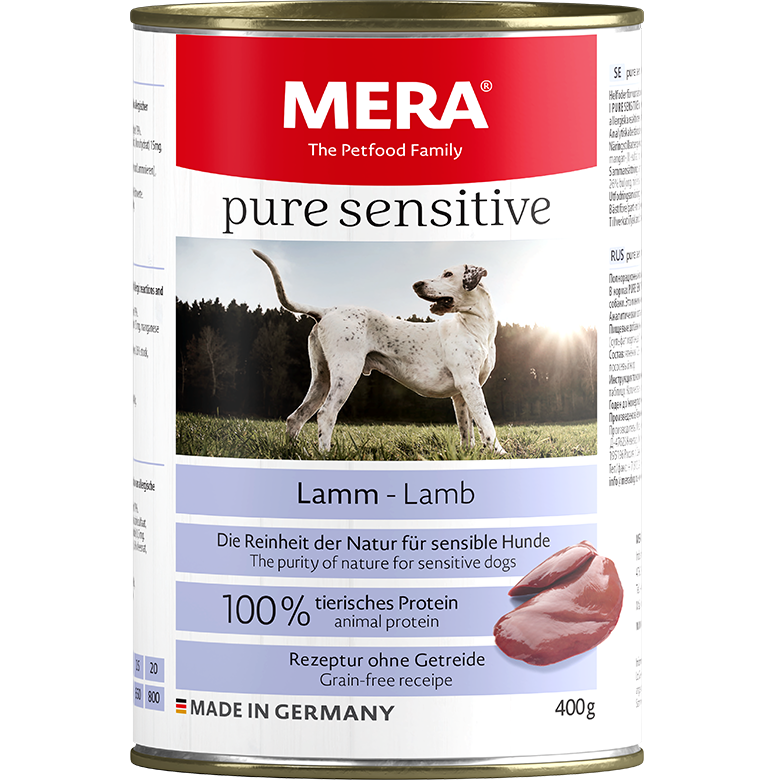 Dog food MERA pure sensitive lamb wet food 100% animal protein for sensitive dogs