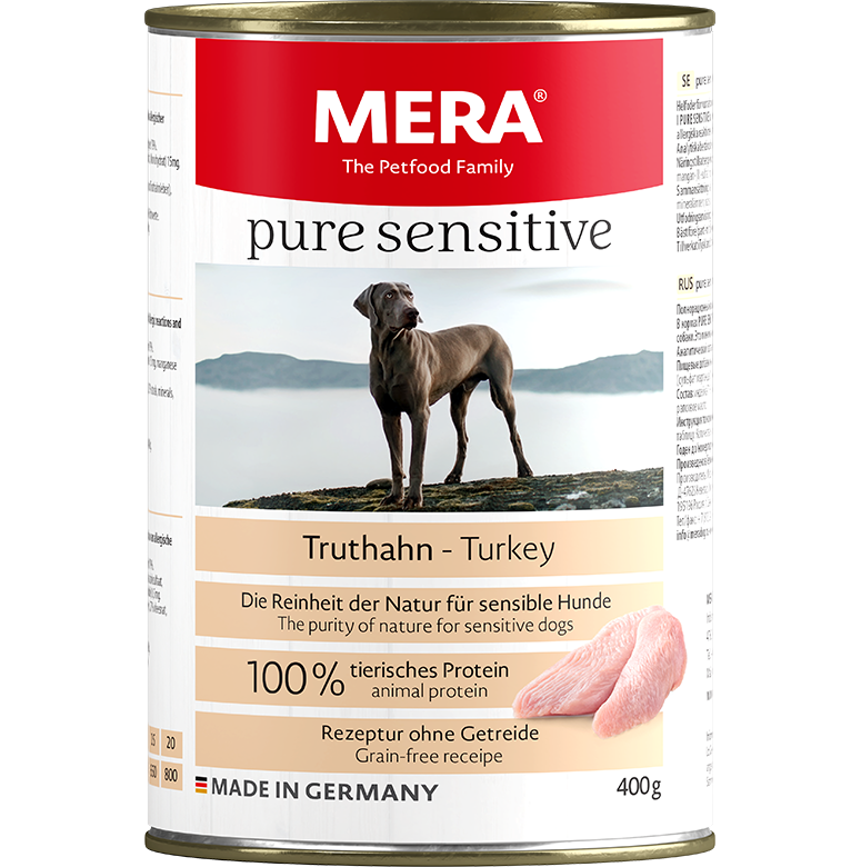 Hundefutter MERA pure sensitive Truthahn Nassfutter 100% tierisches Protein für sensible Hunde