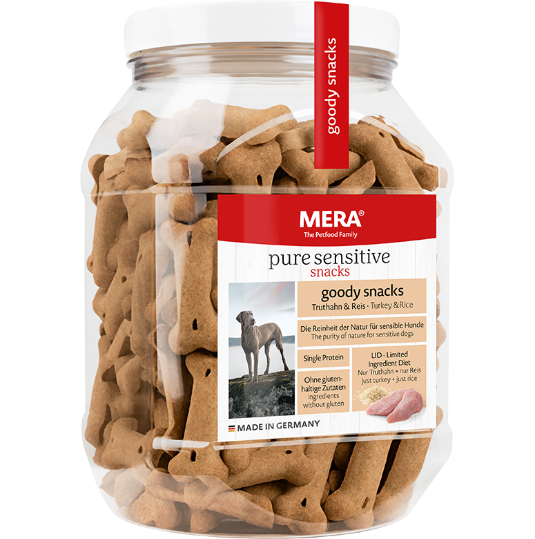 Dog food MERA pure sensitive goody snacks treats with turkey & rice