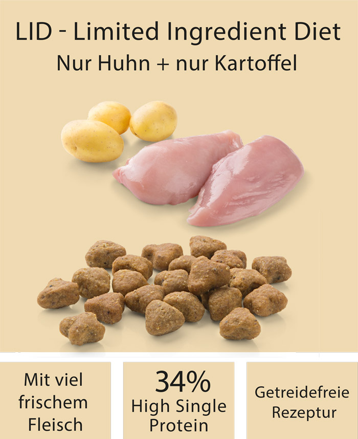 Dog food MERA pure sensitive Mini fresh meat chicken & potatoes with high protein content for the active, sensitive and small dog ingredients