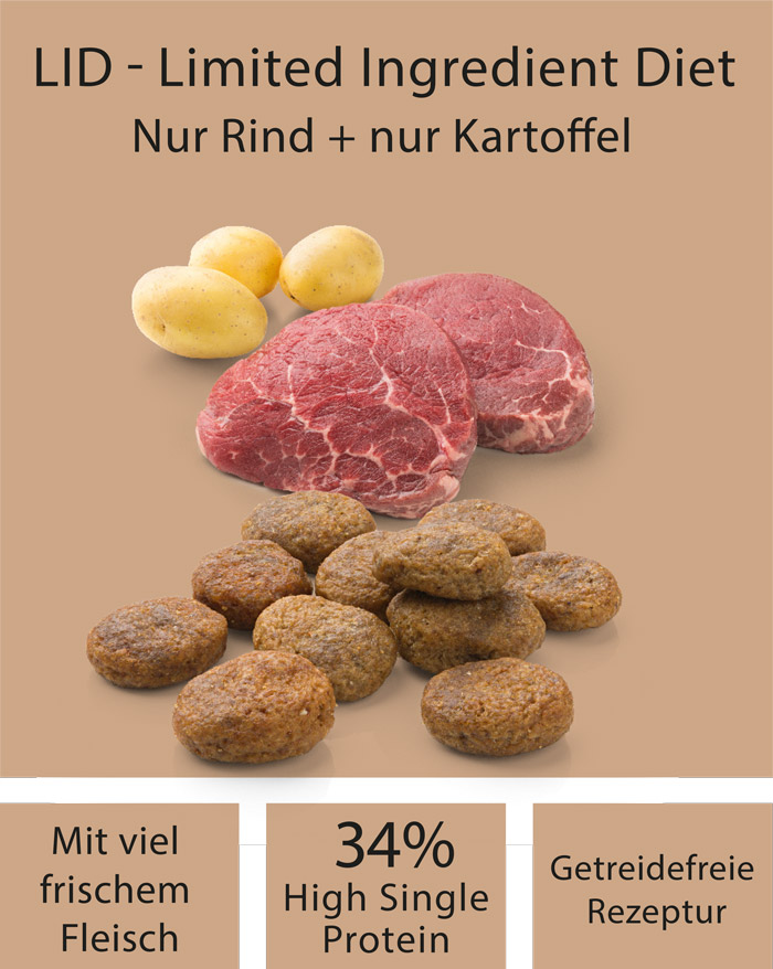 Dog food MERA pure sensitive fresh meat beef & potatoes with high protein for the active, sensitive dog ingredients